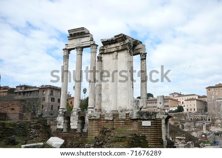 Temple of the Vestal Virgins in the Roman Forum, Italy - stock photo