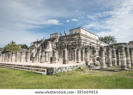 temple of the warrior, chichen itza mayan ruins in mexico
