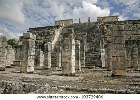 temple of the warriors and a thousand pillars in Chichen Itza Mexico - stock photo