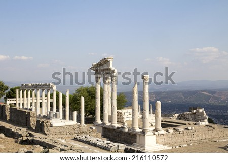 Temple of Trajan in the ancient city of Pergamon, Bergama, Turkey - stock photo