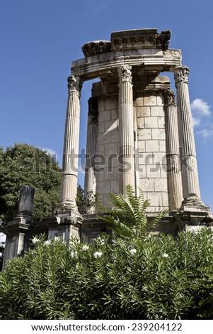 Temple of Vesta in the Roman Forum, Rome, Italy - stock photo