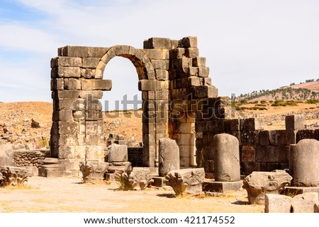Temple of Volubilis, an excavated Berber and Roman city in Morocco, ancient capital of the kingdom of Mauretania. UNESCO World Heritage