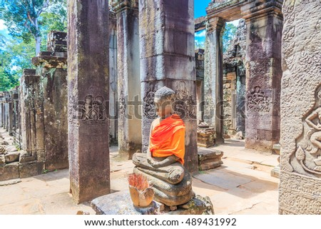 Temple old Landmark Ancient City Ancient sculpture at Angkor Wat  in siem reap of Cambodia
