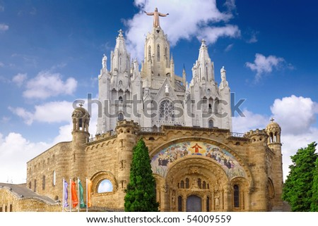Temple on mountain top - Tibidabo  in Barcelona city. Spain
