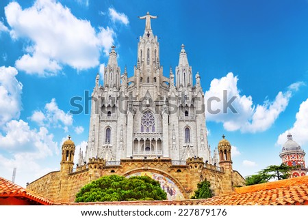 Temple on top of Mount Tibidabo, the Temple of the Sacred Heart. Barcelona.Spain. - stock photo