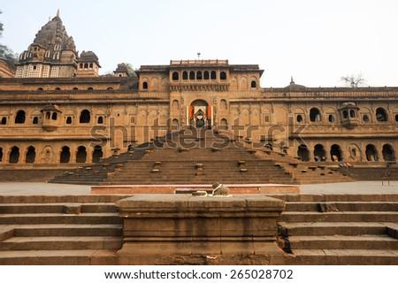 Temple palace of Maheshwar on India - stock photo