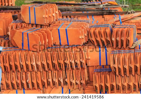 Temple roof tiles, Tiles of thailand house,Tile roof temple in Thailand . - stock photo