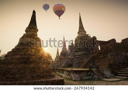 Temple ruins at Ayutthaya in Thailand[Wat Phra si sanphet] - stock photo