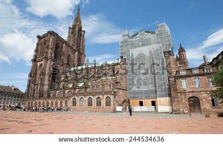 Temple Saint-Etienne of Mulhouse. Alsace, France - stock photo