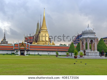 Temple spires at the Grand Palace in Bangkok, Thailand - stock photo