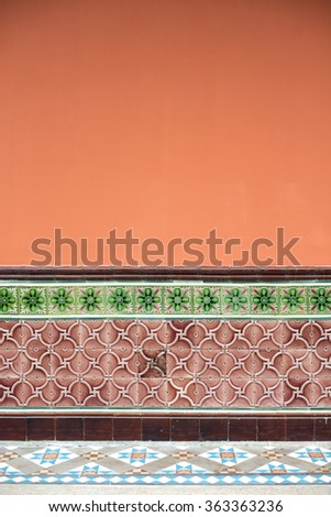 Temple wall with vintage tiles in Singapore - stock photo