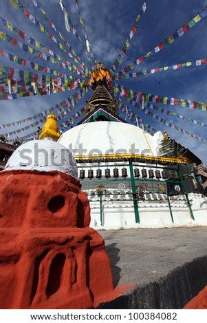 Temple with prayer wheels, Kathmandu