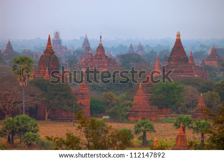 Temples and pagodas of Bagan ancient city in Mandalay Region of Burma (Myanmar) - stock photo