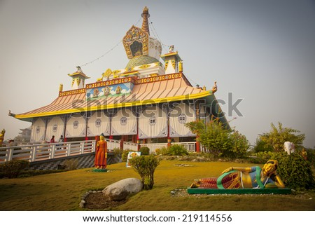 temples in Lumbini, Nepal - stock photo