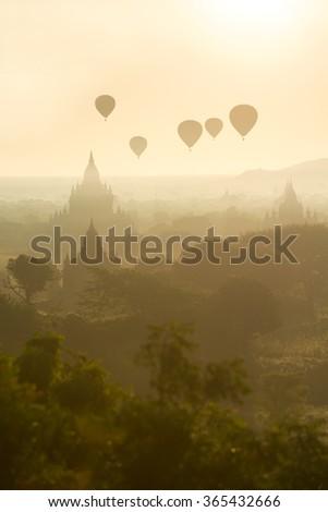 Temples of Bagan at sunrise Myanmar (Burma). - stock photo