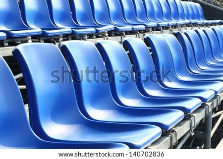 Temporary blue color grand seat - stock photo
