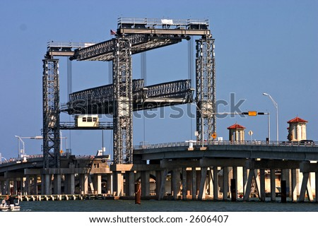 temporary bridge with lift bridge for boat traffic adjacent to the historic bridge of lions in St. Augustine, Florida - stock photo