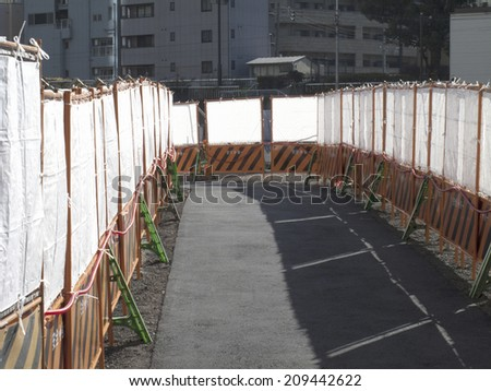 Temporary Sidewalk at the Road Construction - stock photo