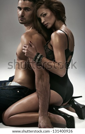 temptation between woman and man - stock photo
