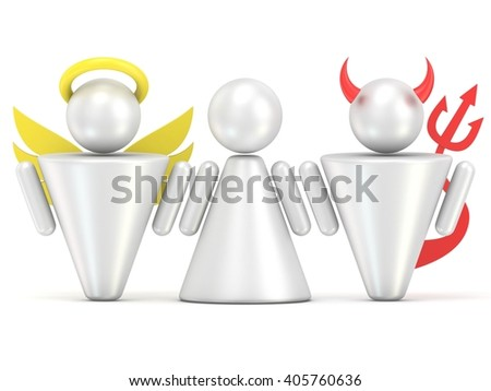 Temptation concept. Woman, angel and devil figures. 3D render illustration isolated on white background - stock photo