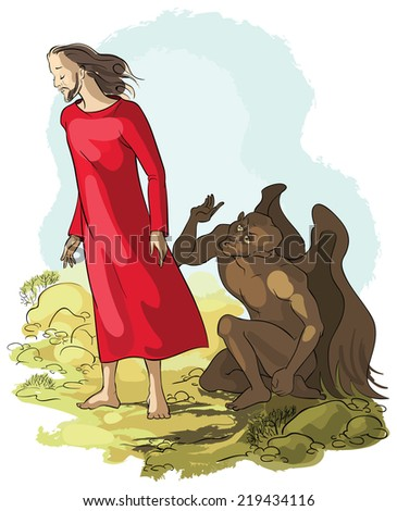 Temptation of Jesus Christ in the Wilderness. Raster version - stock photo