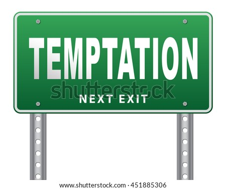 Temptation resist devil temptations lose bad habits by self control. 3D illustration, isolated, on white - stock photo