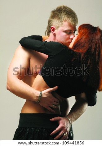 temptation woman and man - stock photo
