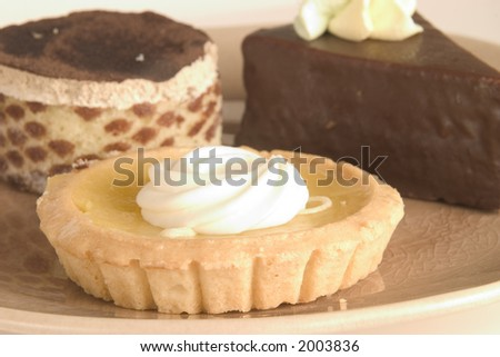 Tempting gourmet pastries on a plate featuring lemon tart and chocolate cake - stock photo