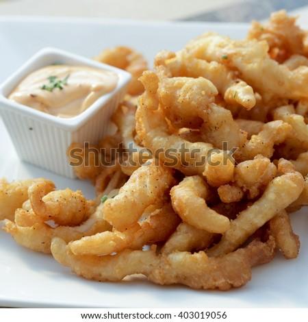 Tempura clams with chipotle mayonnaise - stock photo