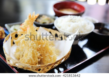 Tempura Fried shrimp Japanese style - stock photo