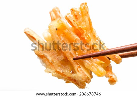 Tempura Japanese fried carrot isolated on white background - stock photo