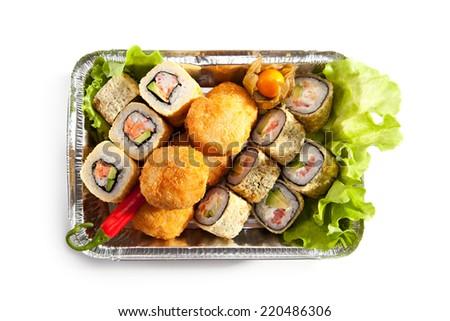 Tempura Maki Sushi Set over White - stock photo