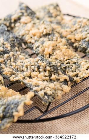 Tempura seaweed with sesame grain - stock photo