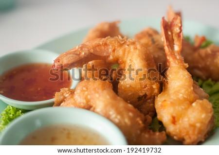 Tempura Shrimps (Deep Fried Shrimps) with sweet sauce - stock photo