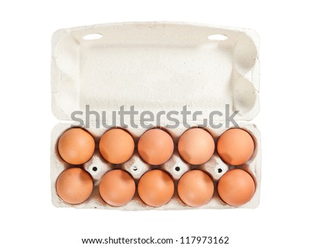 Ten brown eggs in open carton package to isolate the background - stock photo