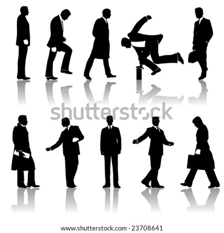Ten businessmen silhouettes