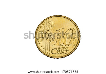 ten cent coin free cutted - stock photo
