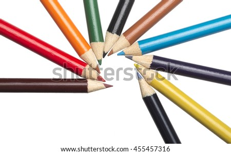 ten colored pastels isolated on white