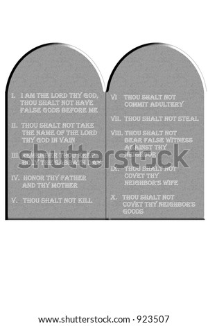 Ten Commandments etched on stone tablets isolated on a white background - stock photo
