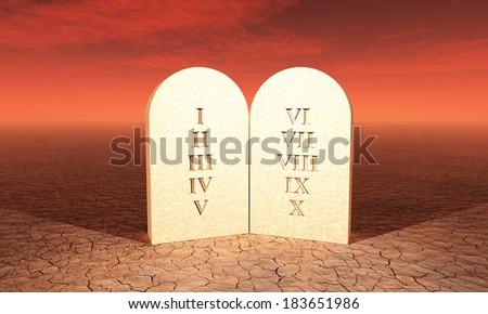 ten commandments in the desert - stock photo