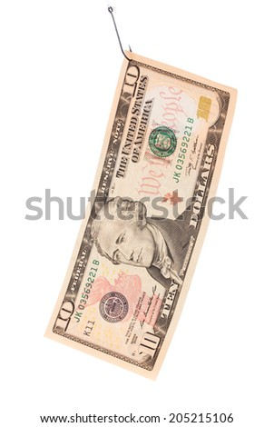 ten dollar bill. Isolated on a white background. - stock photo