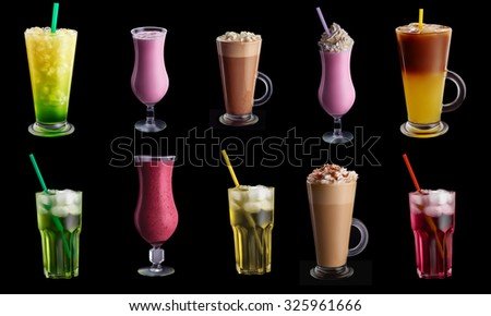 Ten drinks, coctails collage set isolated on black background