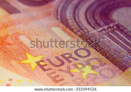 Ten Euro Banknote in a macro shot. - stock photo