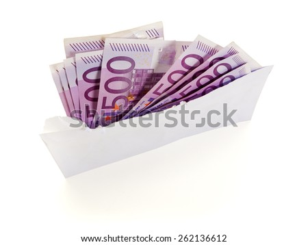 ten 500 euros bills in torn open envelope isolated on white background