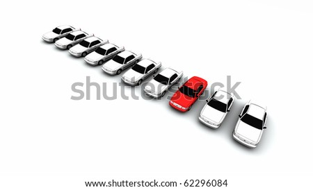 Ten generic cars, one is red - stock photo