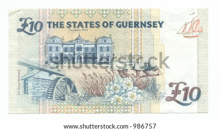 Ten Guernsey Pounds - stock photo