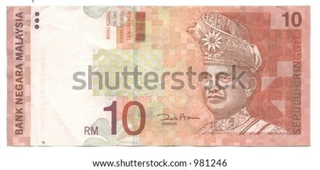 ten malaysian ringgits - stock photo