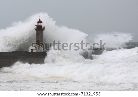 Ten meters waves in Porto Lighthouse - stock photo