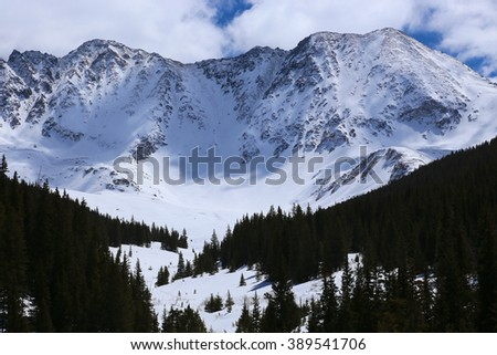 Ten Mile Range and Mayflower Gulch in Rugged Colorado Rocky Mountains in Winter - stock photo