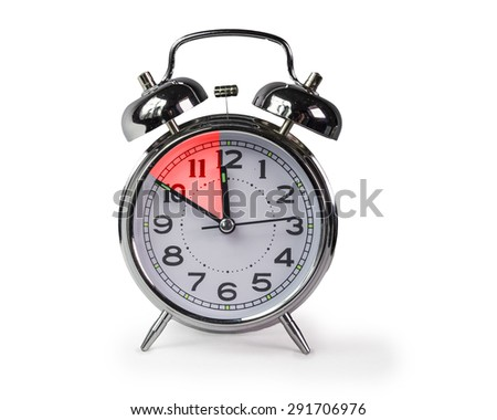 ten minutes before 12 o'clock - red color - stock photo
